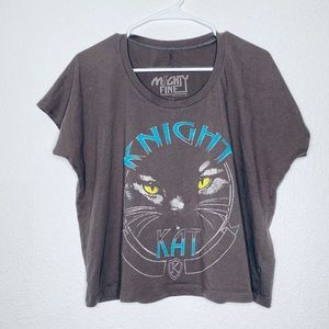 Mighty Fine Knight Kat Cat Cropped Graphic Tee